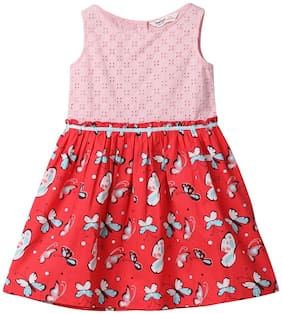 Beebay Red Cotton Sleeveless Above Knee Princess Frock ( Pack of 1 )