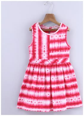 Beebay Girls 100% Cotton Woven Pink Tie And Dye Dress (Pink)