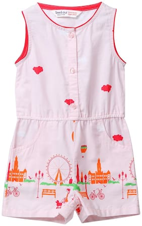 Beebay Cotton Solid Dungaree For Girl - Multi