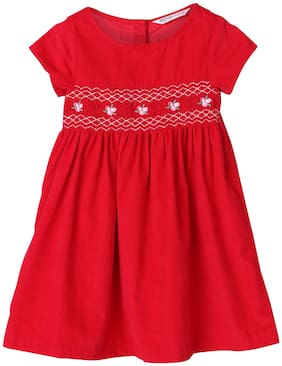 Beebay Baby girl Cotton Checked Winter frock - Red