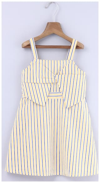 Beebay Girls 100% Cotton Woven Yellow & Blue Stripe Bow Dress (Yellow)