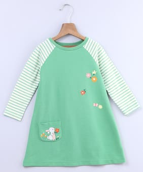 Beebay Green Cotton Full Sleeves Knee Length Princess Frock ( Pack of 1 )