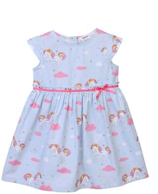 Beebay Baby girl Cotton Printed Princess frock - Blue