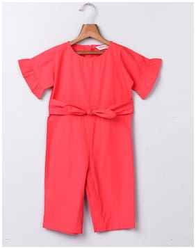 Beebay Cotton Solid Onesies For Girl - Red