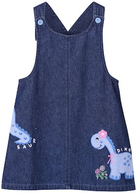 Beebay Baby girl Cotton Checked Winter frock - Blue