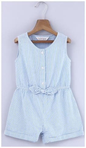 Beebay Cotton Striped Romper For Girl - Blue