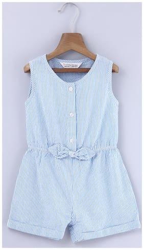 Beebay Cotton Striped Romper For Girl - Blue