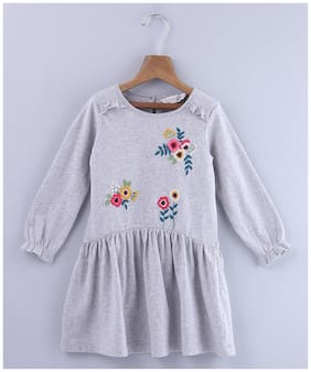 Beebay Girls Cotton Knitted Floral Embroidered Dress (Grey)
