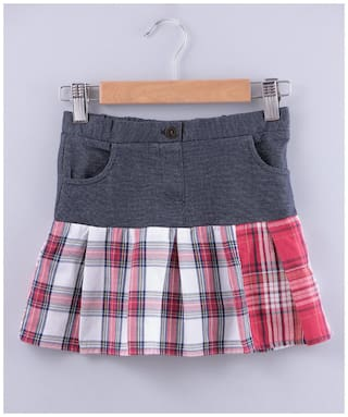 Beebay Girl Cotton blend Checked A- line skirt - Blue