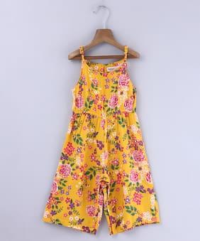 Beebay Viscose Printed Romper For Girl - Yellow