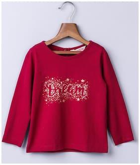 Beebay Girl Cotton Solid T shirt - Maroon