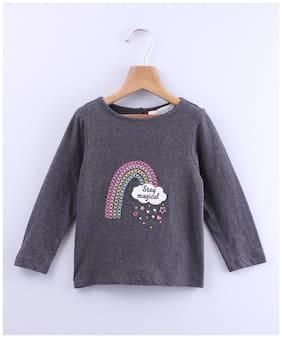 Beebay Girl Cotton Printed T shirt - Grey