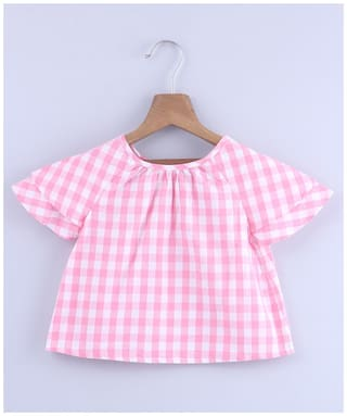 Beebay Girl Cotton Checked Top - Pink
