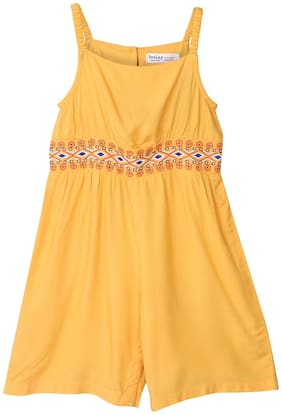 Beebay Baby girl Viscose Solid Jumpsuit - Yellow
