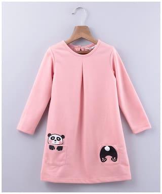 Beebay Pink Cotton Blend Full Sleeves Knee Length Princess Frock ( Pack of 1 )