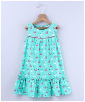 Beebay Girls MIX Whale Print Frill dress (Green)