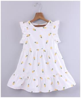 Beebay Girls Ruffled Sleeves Pineapple Print Dress White