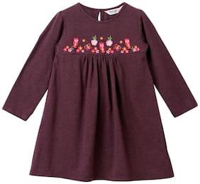 Beebay Brown Knitted Full Sleeves Above Knee Princess Frock ( Pack of 1 )