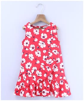 Beebay Girls 100 Cotton Woven Red and White Floral Dress (Red)