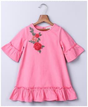 Beebay Pink Cotton Short Sleeves Knee Length Winter Frock ( Pack of 1 )