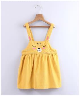 Beebay Yellow Cotton Sleeveless Knee Length Princess Frock ( Pack of 1 )