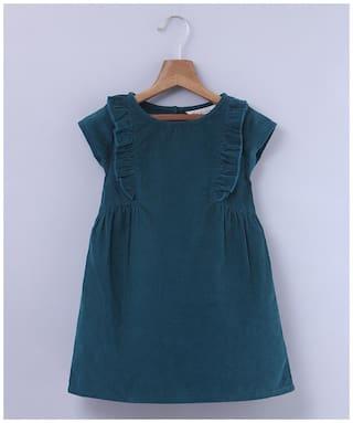 Beebay Girls Cotton Woven Frill Corduroy Dress (Green)