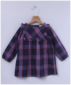 Beebay Girls Cotton Woven Yoke Frill Check Dress (Navy)