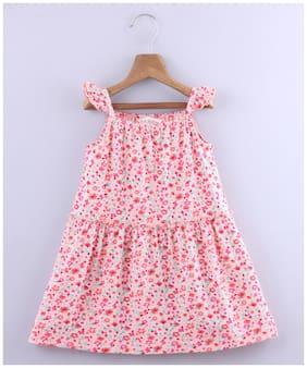 Beebay Pink Cotton Blend Sleeveless Knee Length Princess Frock ( Pack of 1 )