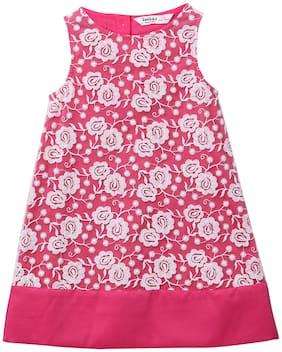 Beebay Pink Blended Short Sleeves Knee Length Princess Frock ( Pack of 1 )