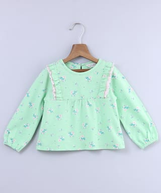 Beebay Girl Cotton Floral Top - Green