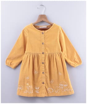 Beebay Yellow Cotton Full Sleeves Knee Length Princess Frock ( Pack of 1 )