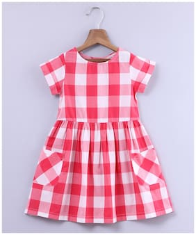Beebay Red Cotton Short Sleeves Knee Length Princess Frock ( Pack of 1 )