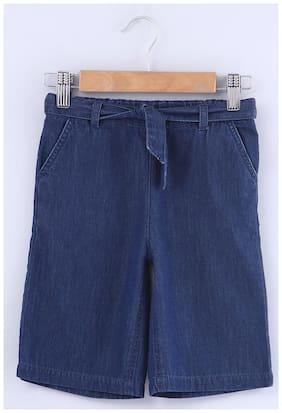 Beebay Girl Cotton Solid Capri - Blue