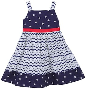 Beebay Blue Cotton Full Sleeves Knee Length Princess Frock ( Pack of 1 )