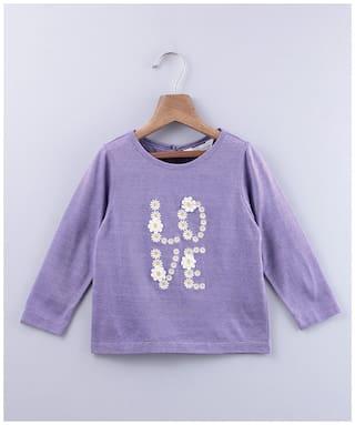 Beebay Girl Cotton Solid T shirt - Purple
