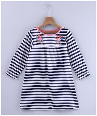 Beebay Girls Cotton Knitted Floral Embroidered Stripe Dress )