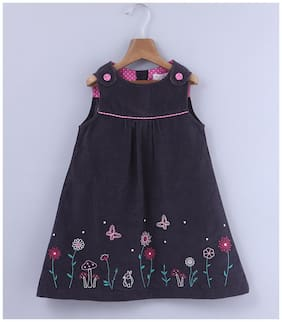 Beebay Girls Cotton Woven Floral Embroidered Pinafore Dress (Grey)