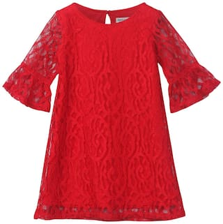 Beebay Red Polyester 3/4th Sleeves Knee Length Winter Frock ( Pack of 1 )
