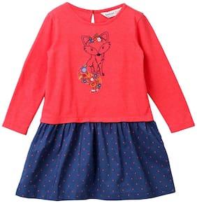 Beebay Girls 100% Cotton Woven Fox Embroidered Dress (Rust)