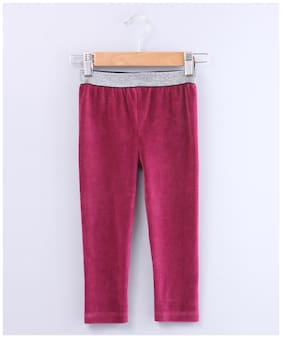 Beebay Cotton blend Solid Leggings - Red