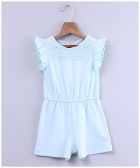 Beebay Knitted Solid Onesies For Girl - Blue