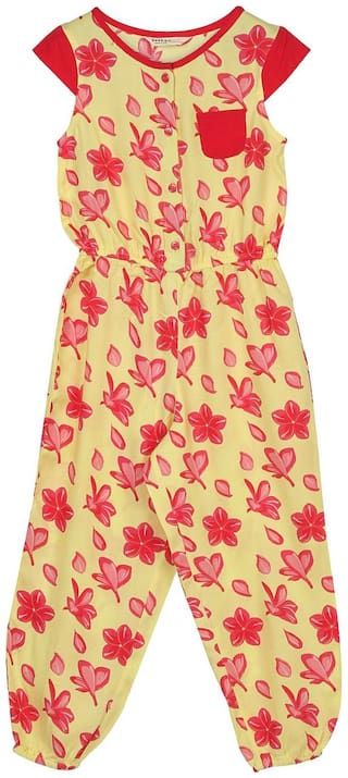 Beebay Viscose Floral Romper For Girl - Yellow