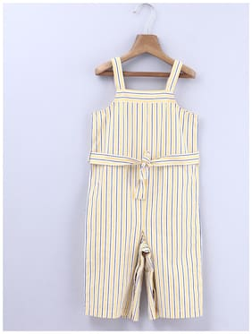 Beebay Cotton Striped Romper For Girl - Yellow