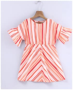 Beebay Girls 100% Cotton Woven Stripe Cold Shoulder Dress (Coral)