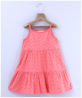 Beebay Girls 100 Cotton Woven All Over Eyelet Embroidered Dress (Peach)