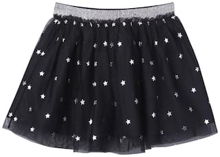 Beebay Girl Polyester Solid Flared skirt - Black