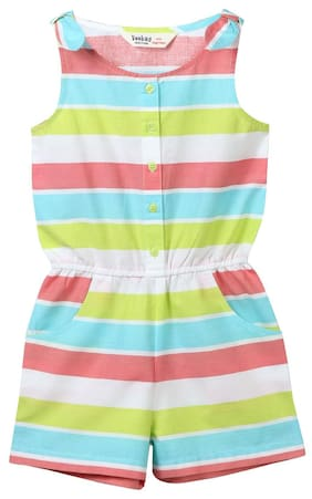 Beebay Cotton Striped Romper For Girl - Multi