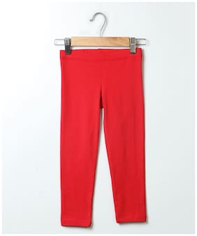 Beebay Cotton Solid Leggings - Red