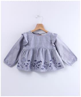 Beebay Girl Cotton Floral Top - Grey