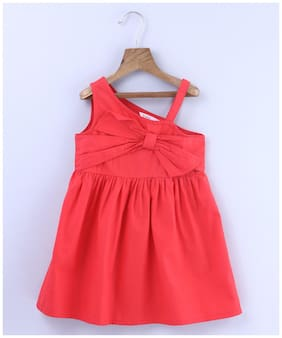 Beebay Girls 100 Cotton Woven Front Bow Rust Dress (Red)
